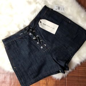 RAG & BONE Resin Lace Up Stitch High Waist Shorts